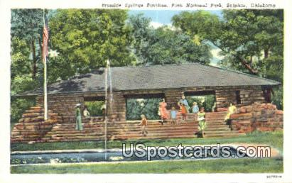 Bromide Springs Pavilion, Platt National Park - Sulphur, Oklahoma OK Postcard