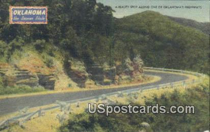 Kiamichi Mountains, Highway - Wichita National Forest, Oklahoma OK Postcard