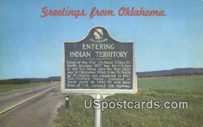 Indian Territory - Greetings from, Oklahoma OK Postcard
