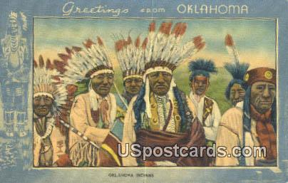 Indians - Greetings from, Oklahoma OK Postcard