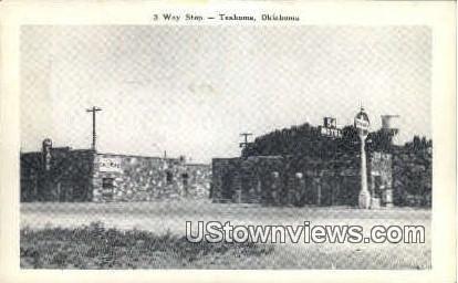 3 Way Stop - Texhoma, Oklahoma OK Postcard