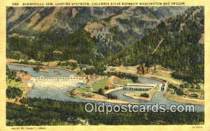 Bonneville Dam - Columbia River, Oregon OR Postcard