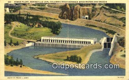 Power Plant, Bonneville Dam - Columbia River, Oregon OR Postcard