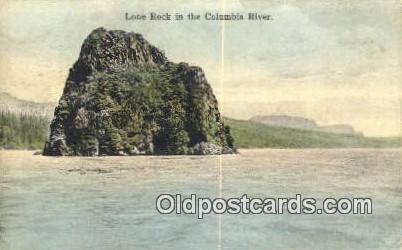 Lone Rock - Columbia River, Oregon OR Postcard