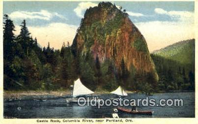 Castle Rock, Columbia River - Portland, Oregon OR Postcard