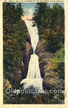 Bridal Veil Falls - Columbia River, Oregon OR Postcard