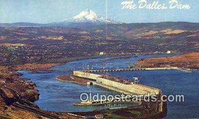 The Dalles Dam - Columbia River, Oregon OR Postcard