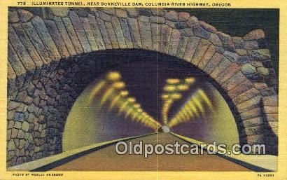 Illuminated Tunnel, Bonneville Dam - Columbia River Highway, Oregon OR Postcard