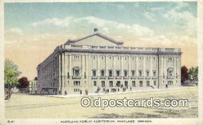 Portland Public Aud - Oregon OR Postcard