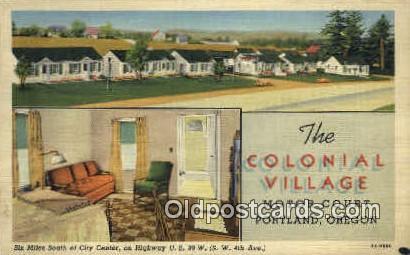 Colonial Village Motor Court - Portland, Oregon OR Postcard