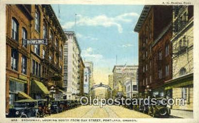 Broadway, Oak St - Portland, Oregon OR Postcard