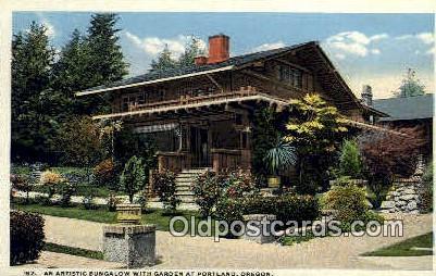 Bungalow, Garden - Portland, Oregon OR Postcard