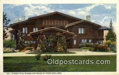 Bungalow Home - Portland, Oregon OR Postcard
