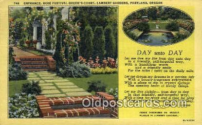 Rose Festival Lambert Gardens - Portland, Oregon OR Postcard