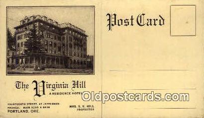 Virginia Hill Residence Hotel - Portland, Oregon OR Postcard
