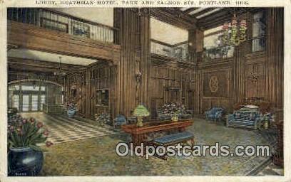 Lobby, Heathman Hotel - Portland, Oregon OR Postcard