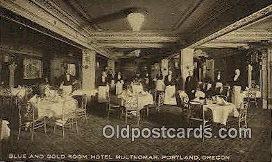 Blue & Gold Room, Hotel Multnomah - Portland, Oregon OR Postcard