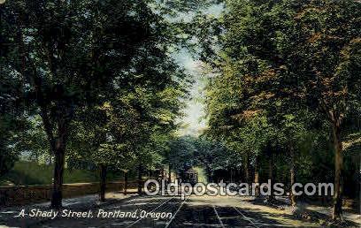Shady Street - Portland, Oregon OR Postcard