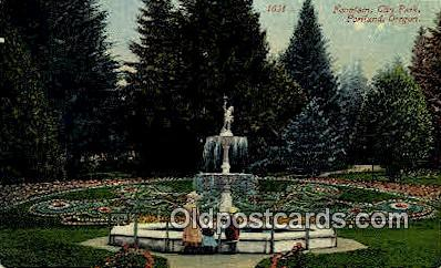Fountain, City Park - Portland, Oregon OR Postcard