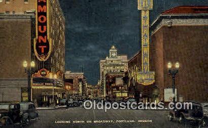 Broadway - Portland, Oregon OR Postcard