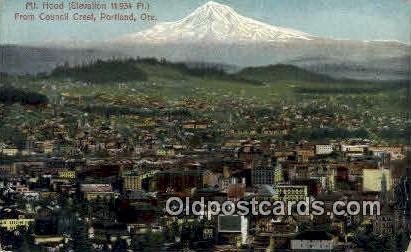 Mt Hood, Council Crest - Portland, Oregon OR Postcard
