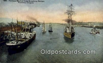 Portland Harbor, Broadway Bridge - Oregon OR Postcard