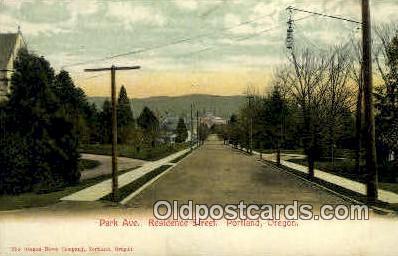 Park Ave, Residence Street - Portland, Oregon OR Postcard