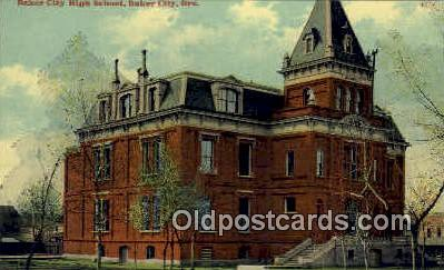 Baker City High School - Oregon OR Postcard