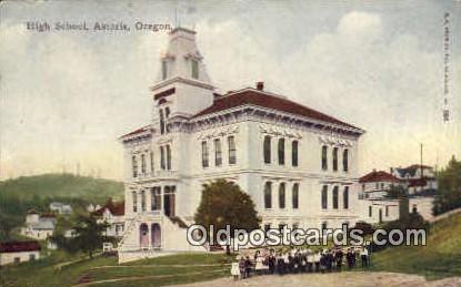 High School, Astoria - Oregon OR Postcard