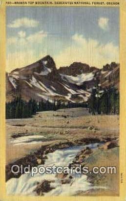 Broken Top Mountain - Deschutes National Forest, Oregon OR Postcard