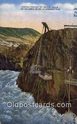 Indians Fishing, Celilo Falls - Columbia River, Oregon OR Postcard