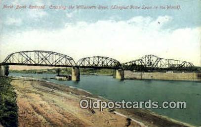 North Bank Railroad - Willamette River, Oregon OR Postcard