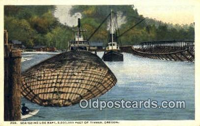 Sea Going Log Raft - Misc, Oregon OR Postcard