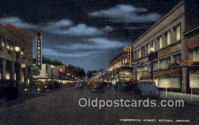 Commercial Street - Astoria, Oregon OR Postcard