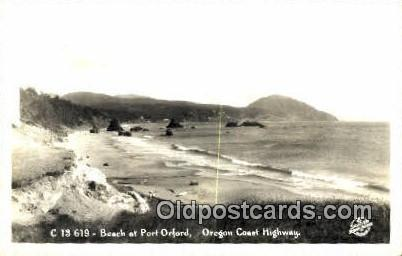 Real Photo - Beach, Port Orford - Oregon Coast Highway Postcards, Oregon OR Postcard