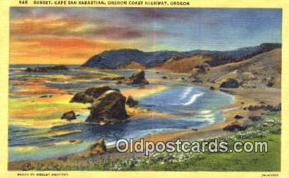 Sunset, Cap San Sebastian - Oregon Coast Highway Postcards, Oregon OR Postcard