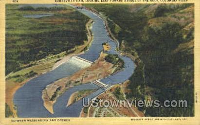 Borneville Dam - Columbia River, Oregon OR Postcard