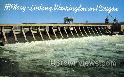 Spillway at McNary Dam - Columbia River, Oregon OR Postcard