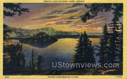 Sunset Over Wizard Island - Crater Lake, Oregon OR Postcard