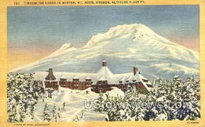 Timberline Lodge in Winter - Mt Hood, Oregon OR Postcard