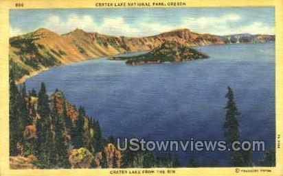 Crater Lake from the rim - Oregon OR Postcard