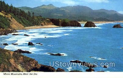 Mountains Meet the Sea - Misc, Oregon OR Postcard