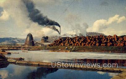 Log Pond & Sawmill - Misc, Oregon OR Postcard