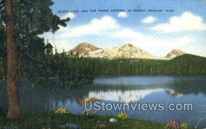 Scott Lake & The Three Sisters - Misc, Oregon OR Postcard