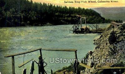 Salmon Trap Fish Wheel - Columbia River, Oregon OR Postcard
