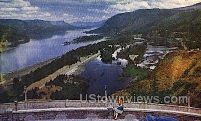 View from Crown Point - Columbia River, Oregon OR Postcard