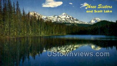 Three Sisters & Scott Lake - Misc, Oregon OR Postcard
