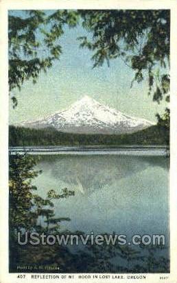Mt Hood in Lost Lake - Oregon OR Postcard