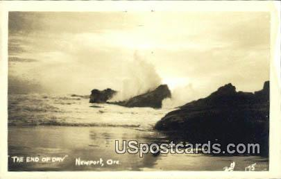 Real Photo End of Day - Newport, Oregon OR Postcard