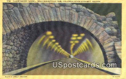 Illuminated Tunnel - Bonneville Dam, Oregon OR Postcard